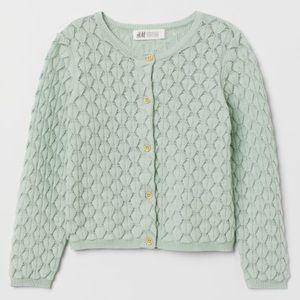 NWOT H&M Textured-Knit Girls' Soft Cotton Cardigan